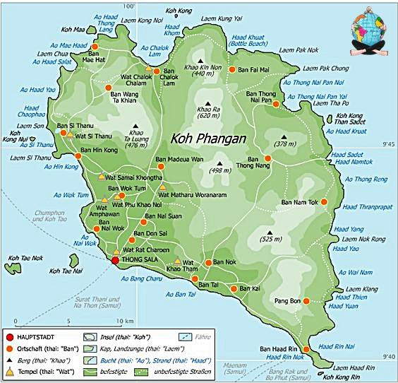 Mapa-Koh-Phangan-Tailandia-Asia
